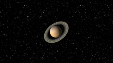 Digital Animation of the Planet Saturn — Stock Video