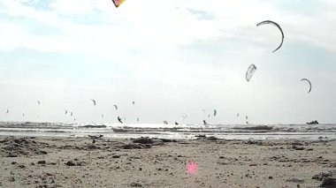 Impression of the Kitesurf World Cup in St. Peter-Ording, Germany, August 21-30 2015 — Stock Video
