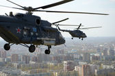 Mi-8 helicopter over the city Rostov-on-Don — Stock Photo