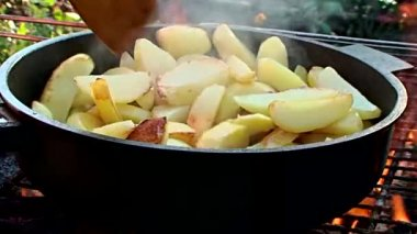 Fried potatoes — Stock Video