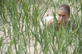Verbergen in het gras — Stockfoto