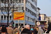 FRANKFURT, GERMANY - MARCH 18, 2015: Crowds of protesters, Demon — Stock Photo