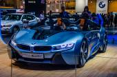 MOSCOW, RUSSIA - AUG 2012: BMW I8 CONCEPT SPYDER presented as world premiere at the 16th MIAS (Moscow International Automobile Salon) on August 30, 2012 in Moscow, Russia — Stock Photo