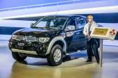 MOSCOW, RUSSIA - AUG 2012: MITSUBISHI L200 4TH GENERATION presented as world premiere at the 16th MIAS Moscow International Automobile Salon on August 30, 2012 in Moscow, Russia — Stock Photo