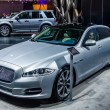 MOSCOW, RUSSIA - AUG 2012: JAGUAR XJ presented as world premiere at the 16th MIAS Moscow International Automobile Salon on August 30, 2012 in Moscow, Russia — Stock Photo #79838064