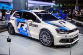 MOSCOW, RUSSIA - AUG 2012: VOLKSWAGEN POLO R WRC presented as world premiere at the 16th MIAS Moscow International Automobile Salon on August 30, 2012 in Moscow, Russia — Stock Photo