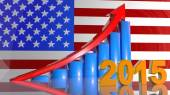 Growth of business in 2015 in the USA, the positive schedule. — Stock Photo