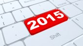 Button 2015 on white keyboard — Stock Photo