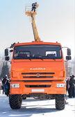 OSINNIKI, RUSSIA - FEBRUARY 21, 2015: Orange truck KAMAZ. — Stock Photo