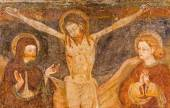 BERGAMO, ITALY - SEPTEMBER 8, 2014: The folk art paint of Crucifixion in church Santa Maria Immacolata delle Grazie by unknown painter. — Stock Photo