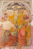PADUA, ITALY - SEPTEMBER 9, 2014: The Fresco of crucifixion or Calvary in church San Nicolo (Saint Nicholas) by unknown painter (1359 - 1379). — Stock Photo