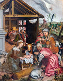 BRUGES, BELGIUM - JUNE 12, 2014: The Adoration of Pastores scene by Petrus Pourus (1571) in the church Our Lady. — Stock Photo
