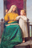 PADUA, ITALY - SEPTEMBER 9, 2014: Paint of Saint Ann and little Mary in church Santa Maria dei Servi by R. Maluta from end of 19. cent. — Stock Photo