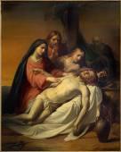 BRUSSELS, BELGIUM - JUNE 15, 2014: The Pieta painting by Jean Baptiste van Eycken (1809 - 1853) in Notre Dame de la Chapelle — Stock Photo