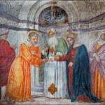 PADUA, ITALY - SEPTEMBER 8, 2014: Espousals of Virgin Mary and st. Joseph in the church San Francesco del Grande in chapel Cappella di Santa Maria della Carita by Girolamo Tessari (1523 - 24) — Stock Photo #54203645