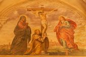 PADUA, ITALY - SEPTEMBER 9, 2014: The Fresco of crucifixion or Calvary in church San Benedetto vecchio (Saint Benedict) from 16. cent. by unknown painter. — Stock Photo