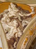PADUA, ITALY - SEPTEMBER 8, 2014: The fresco of cardinal virtue of love in Cathedral of Santa Maria Assunta (Duomo) in the chapel of bishop Gregorio Barbarigo from year 1762 by Giovanbattista Mingardi — Stock Photo