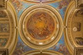 "BERGAMO, ITALY - SEPTEMBER 8, 2014: The cupola of church Santa Maria Immacolata delle Grazie with the frosco ""Glory of Mary"" as the central motive by Enrico Scuri (1863-1868). — Stock Photo"