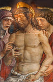 PADUA, ITALY - SEPTEMBER 9, 2014: Deposition of the cross or tortured Jesus  fresco by Mantegna school from 15. cent. in church Santa Maria dei Servi. — Stock Photo