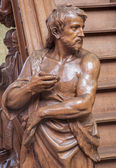 MECHELEN, BELGIUM - JUNE 14, 2014: The carved statue of st. John the baptist on the entry of the pulpit by Willem Ignatius Kerrickx (1718) in church Our Lady across de Dyle. — Stock Photo
