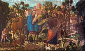 VENICE, ITALY - MARCH 13, 2014: The Adoration of the Shepherds paint by Giovanni Manuseti from 14. cent. in church of San Martino of Saint Martin on Burano island. — Stock Photo
