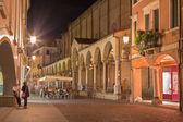 PADUA, ITALY - SEPTEMBER 10, 2014: The Church Santa Maria dei Servi and Via Roma at night. — Stock Photo