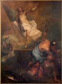 BRUGES, BELGIUM - JUNE 12, 2014: The Resurrection of Christ by L. Dedeyster (1694)  in st. Jacobs church (Jakobskerk). — Zdjęcie stockowe
