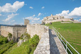 Spissky castle - Look from down castle courtyard over the wall — Stock Photo