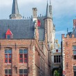 Bruges - Back side of Town hall and Blinde Ezelstraat street. — Stock Photo #54210103