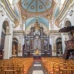 BRUGES, BELGIUM - JUNE 13, 2014: The nave of Karmelietenkerk (Carmelites church) by carmelite Victor van de Heilige Jacob fromk 17. cent. — Stock Photo #54211393