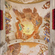 ������, ������: PADUA ITALY SEPTEMBER 8 2014: Fresco on the ceiling of presbytery of Basilica di Santa Giustina by Sebastiano Ricci 1700 The central motive is the Adoration of angels for the Eucharist