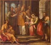 Bergamo, Włochy - zm. 8 września 2014: ból ofiarowanie w świątyni w kościele santa maria immacolata delle grazie przez francesco bergametti z 19. procent. — Zdjęcie stockowe