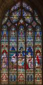 BRUGES, BELGIUM - JUNE 12, 2014: The death of st. Helen on windowpane in St. Salvator's Cathedral (Salvatorskerk) by stained glass artist Samuel Coucke (1833 - 1899) — Stock Photo