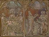 BRUGGE, BELGIUM - JUNE 13, 2014: The Last supper of Jesus and the Abraham blessed by Melchizedek scene. Neogothic metal relief in st. Giles (Sint Gilliskerk). — Foto Stock