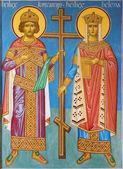 BRUGES, BELGIUM - JUNE 13, 2014: Fresco of st. Constantine and st. Helena in vestibule of st. Constanstine and Helena orthodx church (2007 - 2008). — Stock Photo