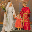 BRUSSELS, BELGIUM - JUNE 16, 2014: The Holy family in the dress in church Eglise de St Jean et St Etienne aux Minimes. — Stock fotografie #54221365