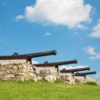 Spissky castle - Look to guns from down castle courtyard — Stock Photo #54225255