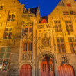 Bruges - Jan van Eyck birth house in evening dusk. — Stock Photo #54226345