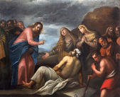 PADUA, ITALY - SEPTEMBER 10, 2014: Paint of the Resurrection of Lazarus scene in the church Chiesa di San Gaetano and the chapel of the Crucifixion by unknown painter from 17th century — Stock Photo