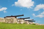 Spissky castle - Look to guns from down castle courtyard — Stock Photo