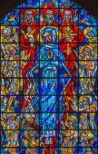 BRUSSELS, BELGIUM - JUNE 15, 2014:  Virgin Mary and the Trinity from modern windowpane in st. Nicholas church — Stock Photo