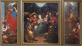 MECHELEN, BELGIUM - JUNE 14, 2014: Tryptich of the Pentecost scene by unknown painter in st. Johns church or Janskerk. — Foto Stock