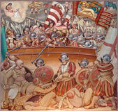 PADUA, ITALY - SEPTEMBER 9, 2014: The paint of Battle of Lepanto in 1571 in church Basilica del Carmine from 1933 by Antonio Sebastiano Fasal. — Stock Photo