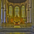 ������, ������: BRUGES BELGIUM JUNE 13 2014: Nave and presbytery of Saint Giles gothic church Sint Gilliskerk