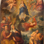Постер, плакат: BRUGES BELGIUM JUNE 13 2014: The Coronation of Virgin Mary in st Giles church Sint Gilliskerk