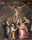 PADUA, ITALY - SEPTEMBER 9, 2014: The Crucifixion and the saints in the church Cathedral of Santa Maria Assunta (Duomo) by unknown painter of 17. cent. — Stock Photo