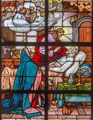 MECHELEN, BELGIUM - JUNE 14, 2014: The Death of st. Joseph on windowpane in st. Katharine church or Katharinakerk. — Stock Photo