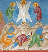 BRUGES, BELGIUM - JUNE 13, 2014: Fresco of the Transfiguration of Jesus scene in st. Constanstine and Helena orthodx church (2007 - 2008). — Stok fotoğraf
