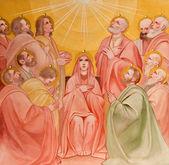 PADUA, ITALY - SEPTEMBER 9, 2014: The fresco of the Pentecost scene in church Basilica del Carmine from 1933 by Antonio Sebastiano Fasal. — Stock Photo