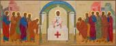 MECHELEN, BELGIUM - JUNE 14, 2014: The orthodox icon of Communion the Apsotle st. Katharine church or Katharinakerk. — Stock fotografie